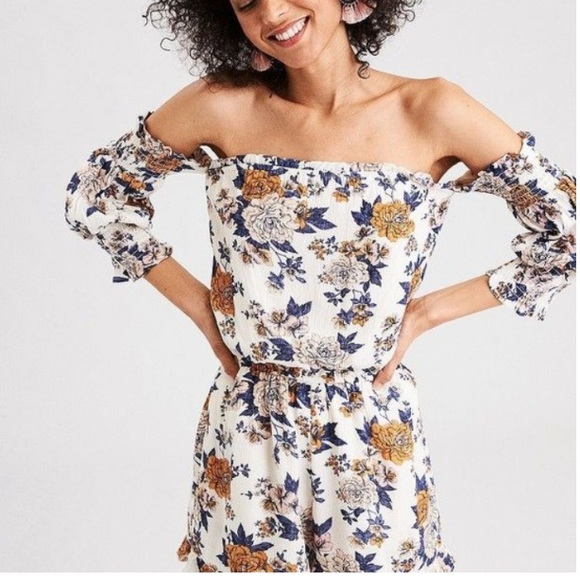 American Eagle Outfitters Pants - AEO Smoked Bell Sleeve Romper